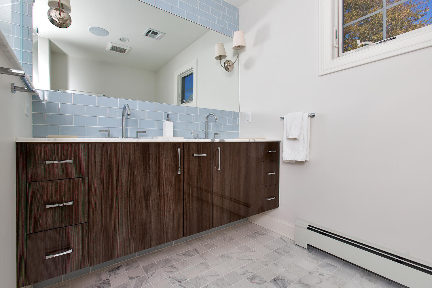 Custom Bathroom Double Vanities custom vanity / bathroom cabinetry | design line kitchens in sea