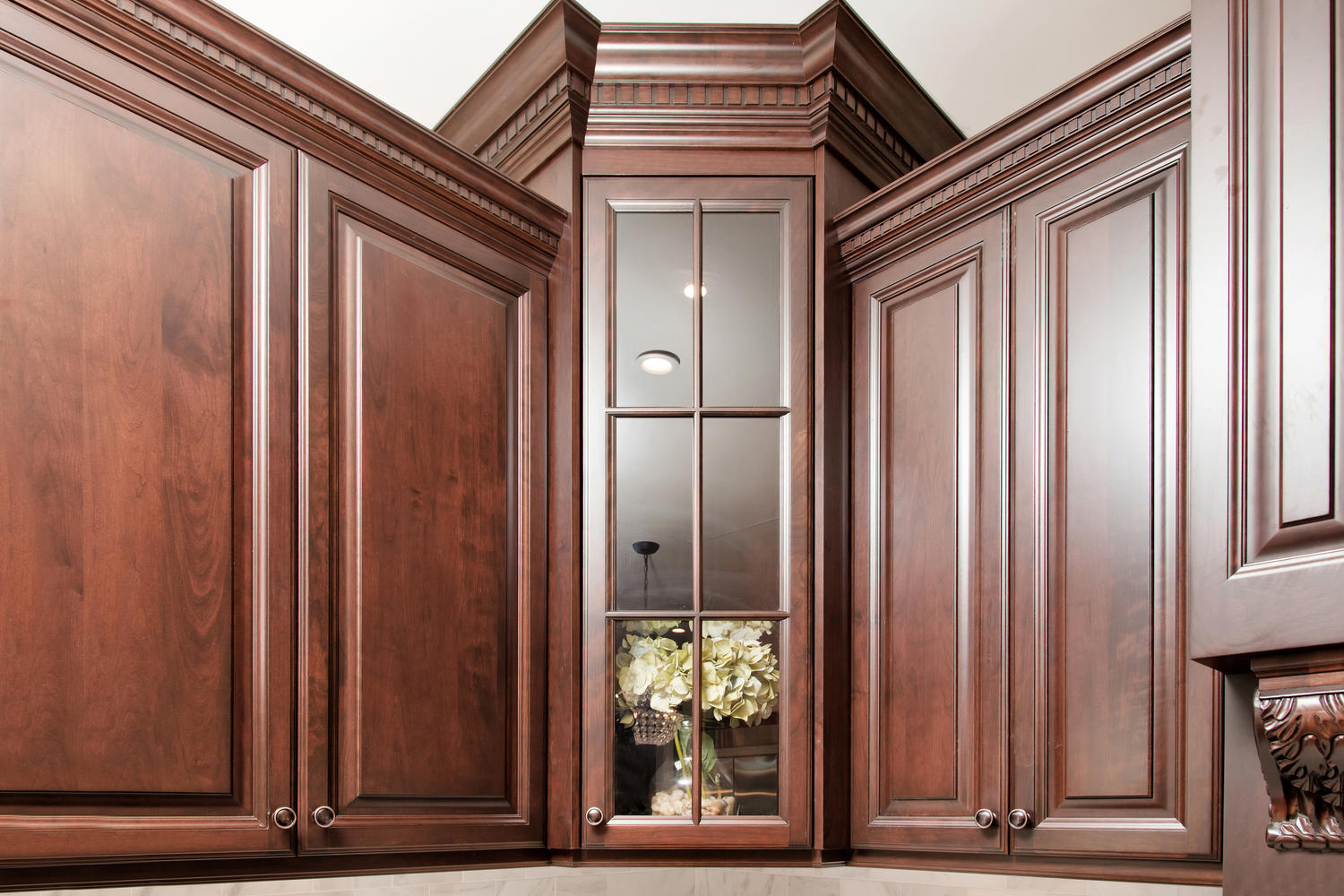Dark brown and white kitchen millstone new jersey by for Angled corner kitchen cabinets
