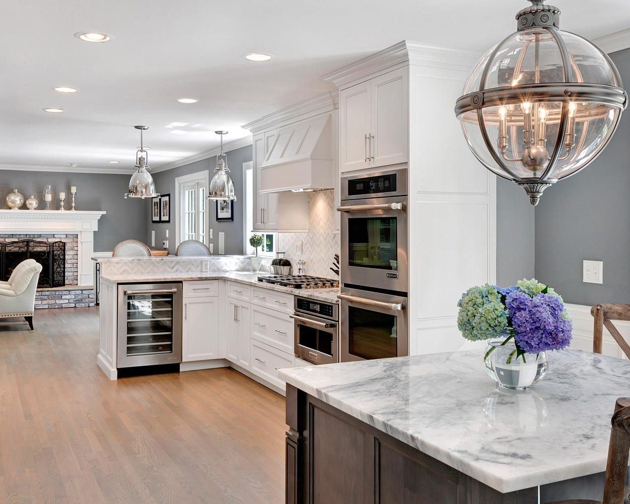 Timeless grey and white kitchen middletown new jersey by design line kitchens for Beautiful small kitchen designs