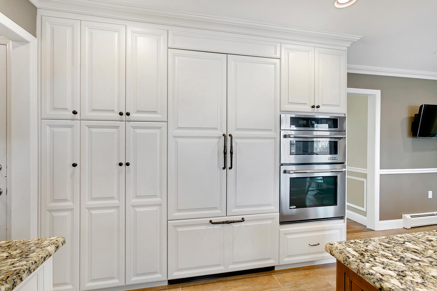 White stained cabinets