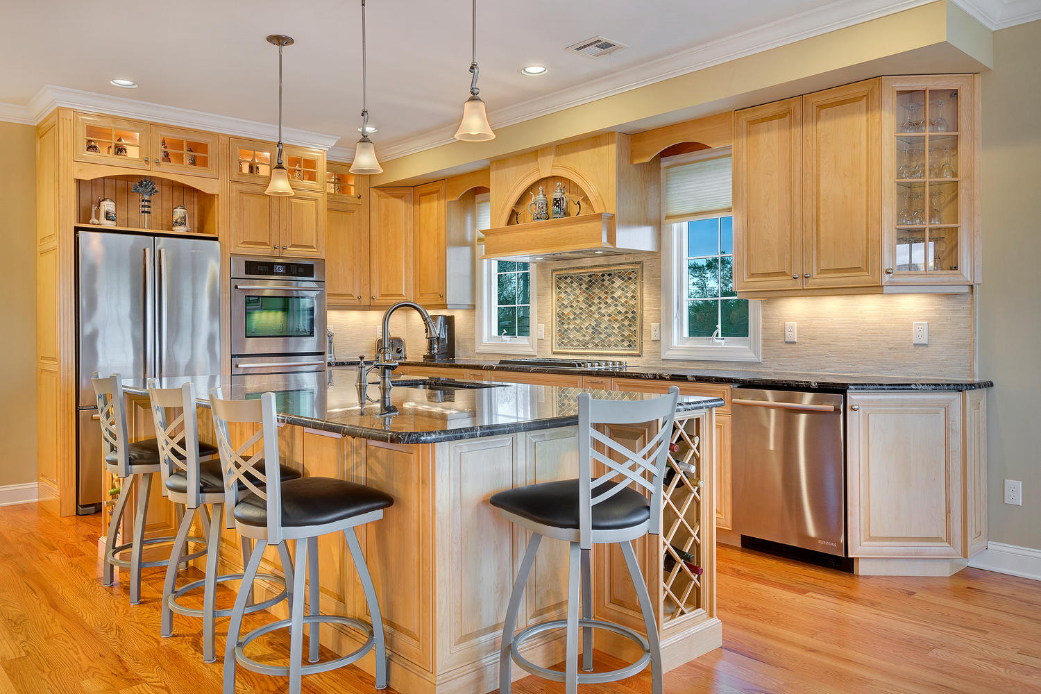 Attractive Natural Stained Wood Kitchen Toms River, New Jersey