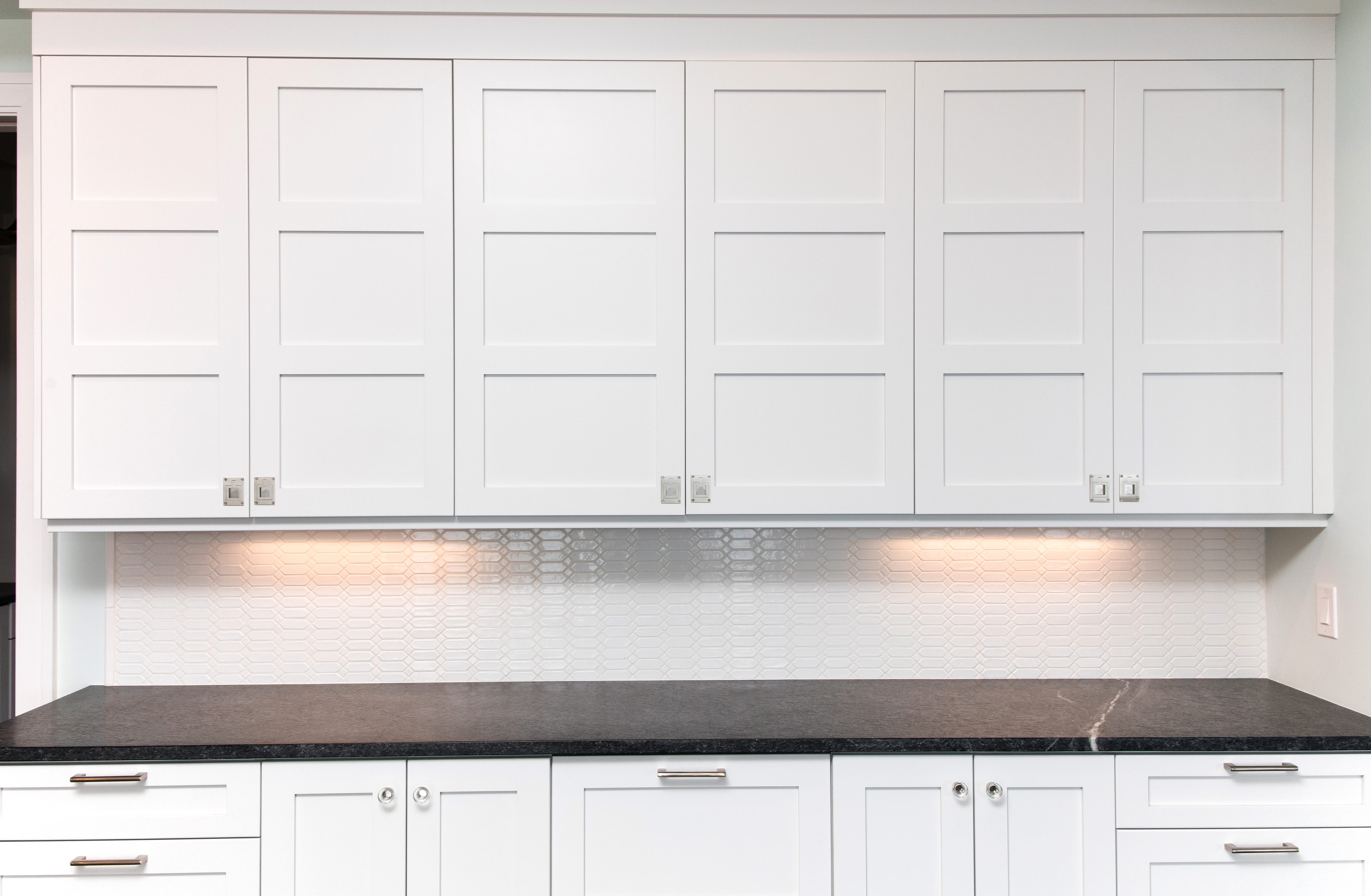 White cabinets with recessed finger pulls hutch cabinets with triple recessed door panels