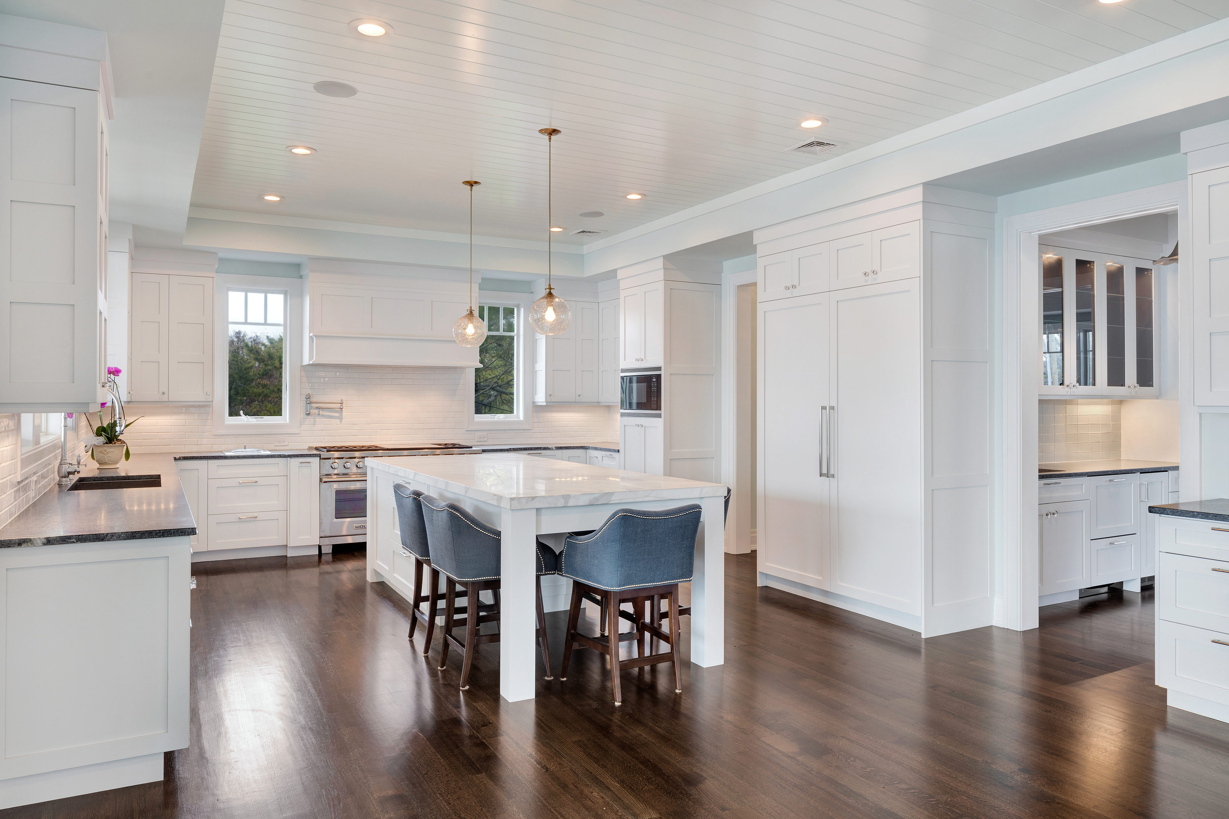 Kitchen Butlers Pantry White Transitional Kitchen Mantoloking New Jersey By Design Line