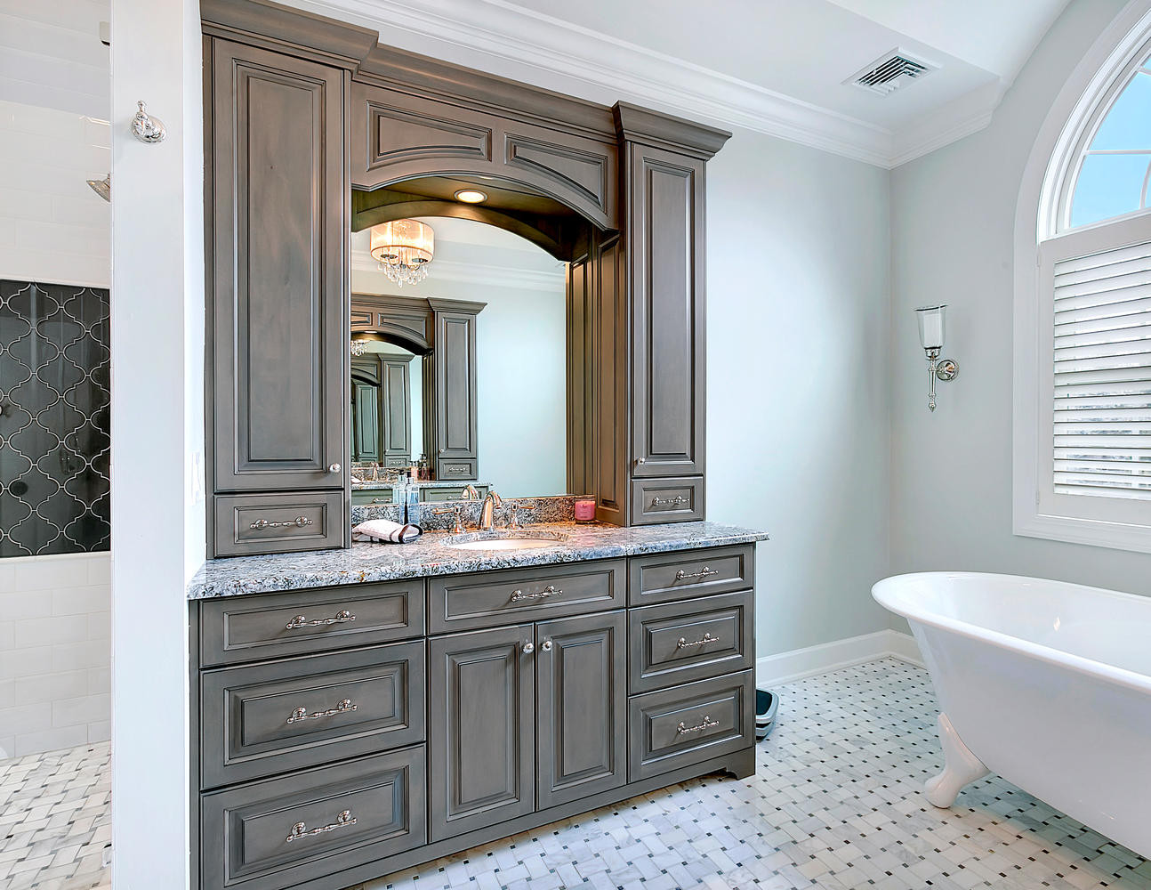 Custom vanity bathroom cabinetry design line kitchens for Oversized baths
