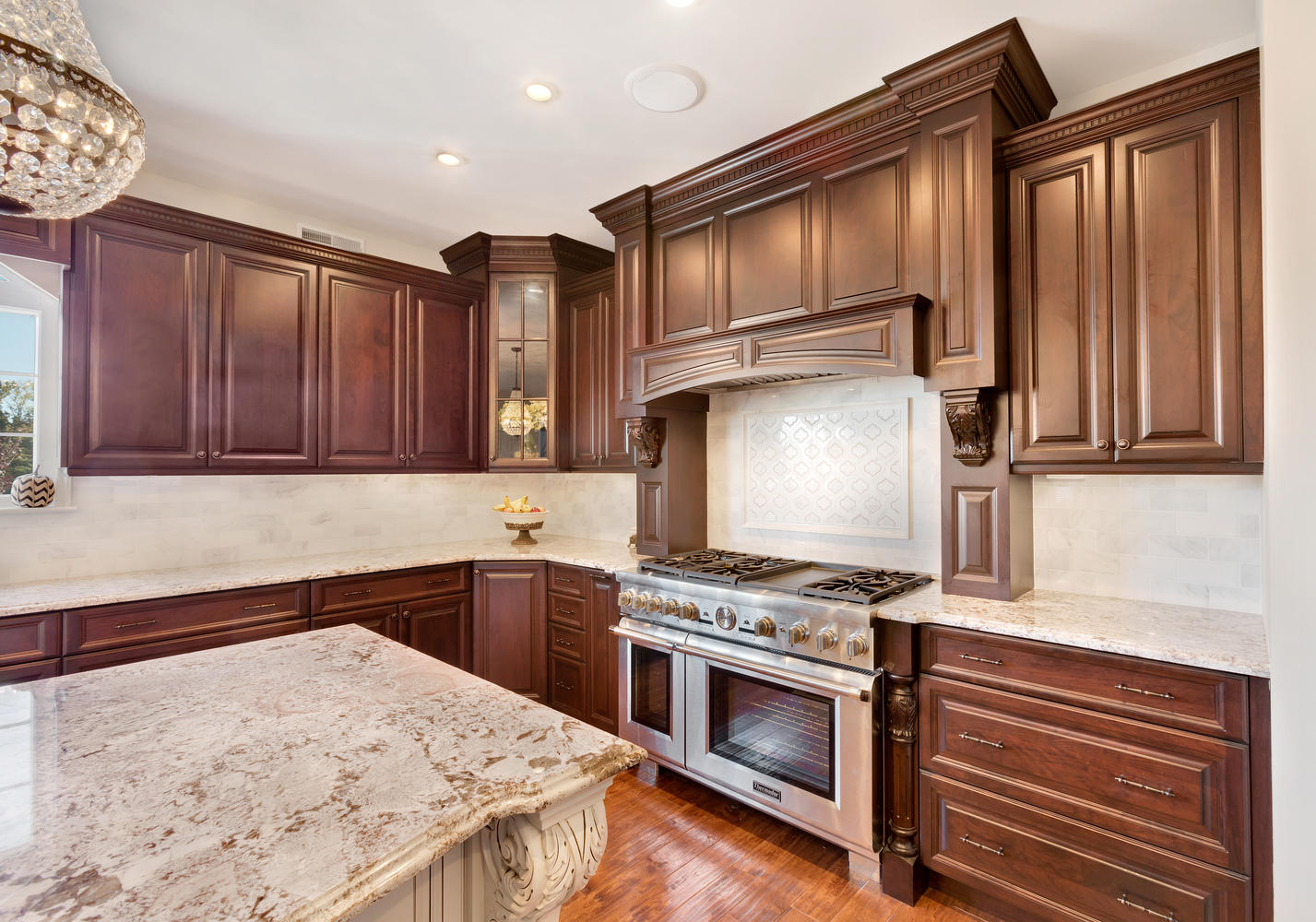 Dark brown and white kitchen millstone new jersey by for Magnificent kitchens