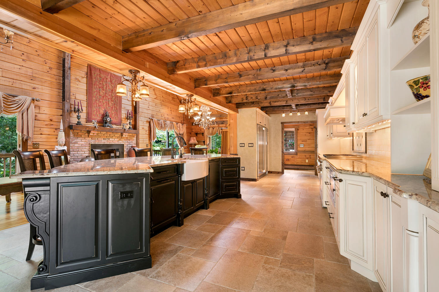 Log cabin kitchen howell new jersey by design line kitchens for Log home kitchens gallery