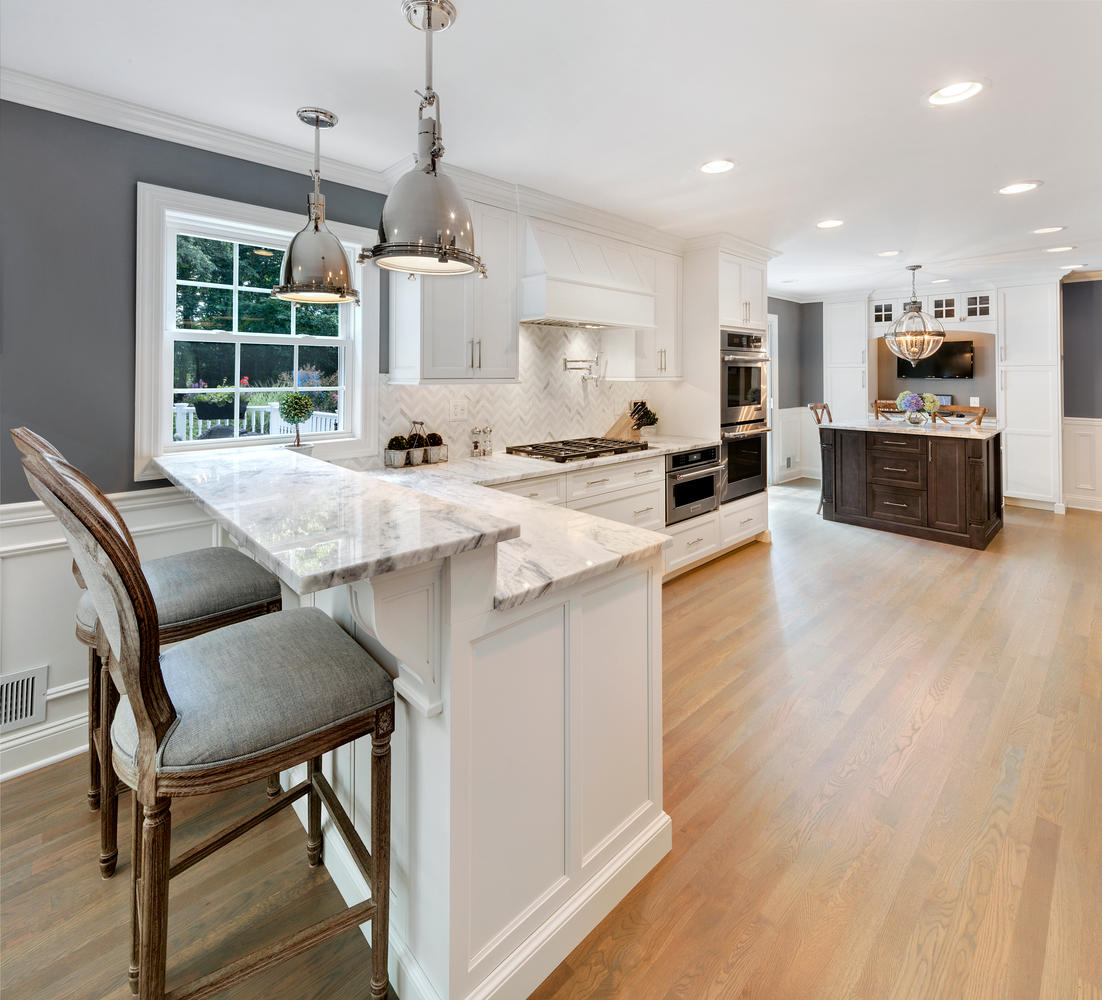 Kitchen Island With Raised Bar: Timeless Grey And White Kitchen Middletown New Jersey By