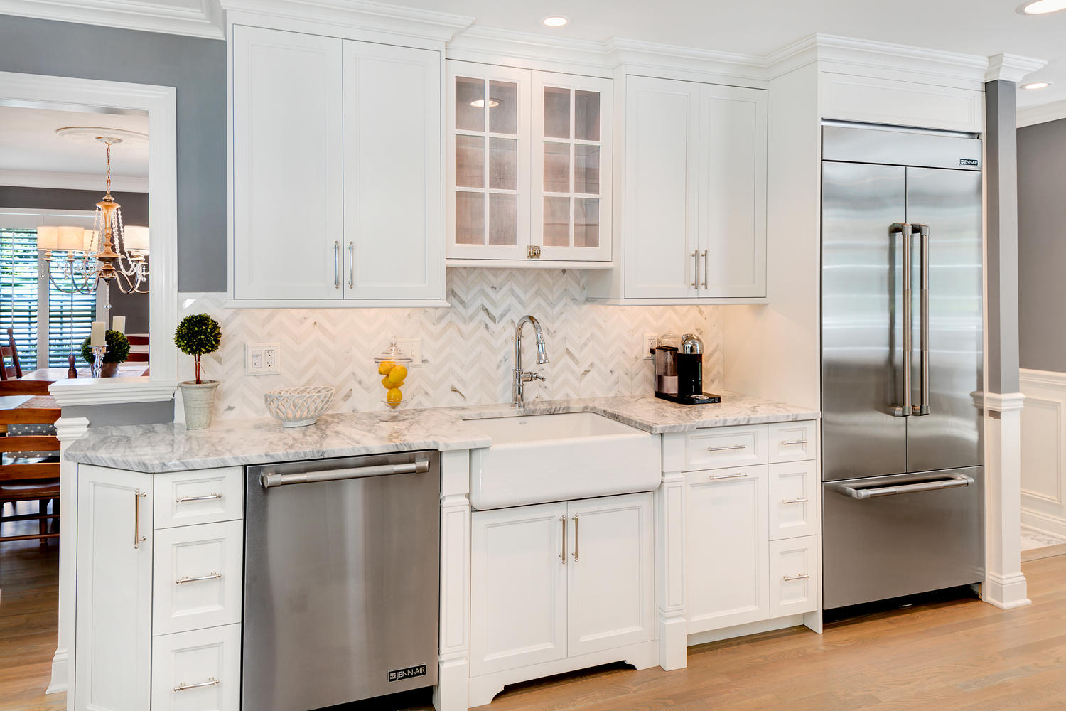 Stainless Appliance And White Cabinets