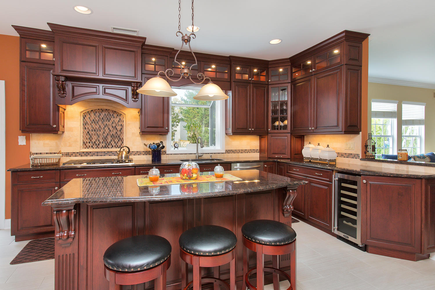 Dark Cherry Kitchen Perfection kitchen cabinets nj Stacked Glass Wall Cabinet Kitchen Design New Jersey