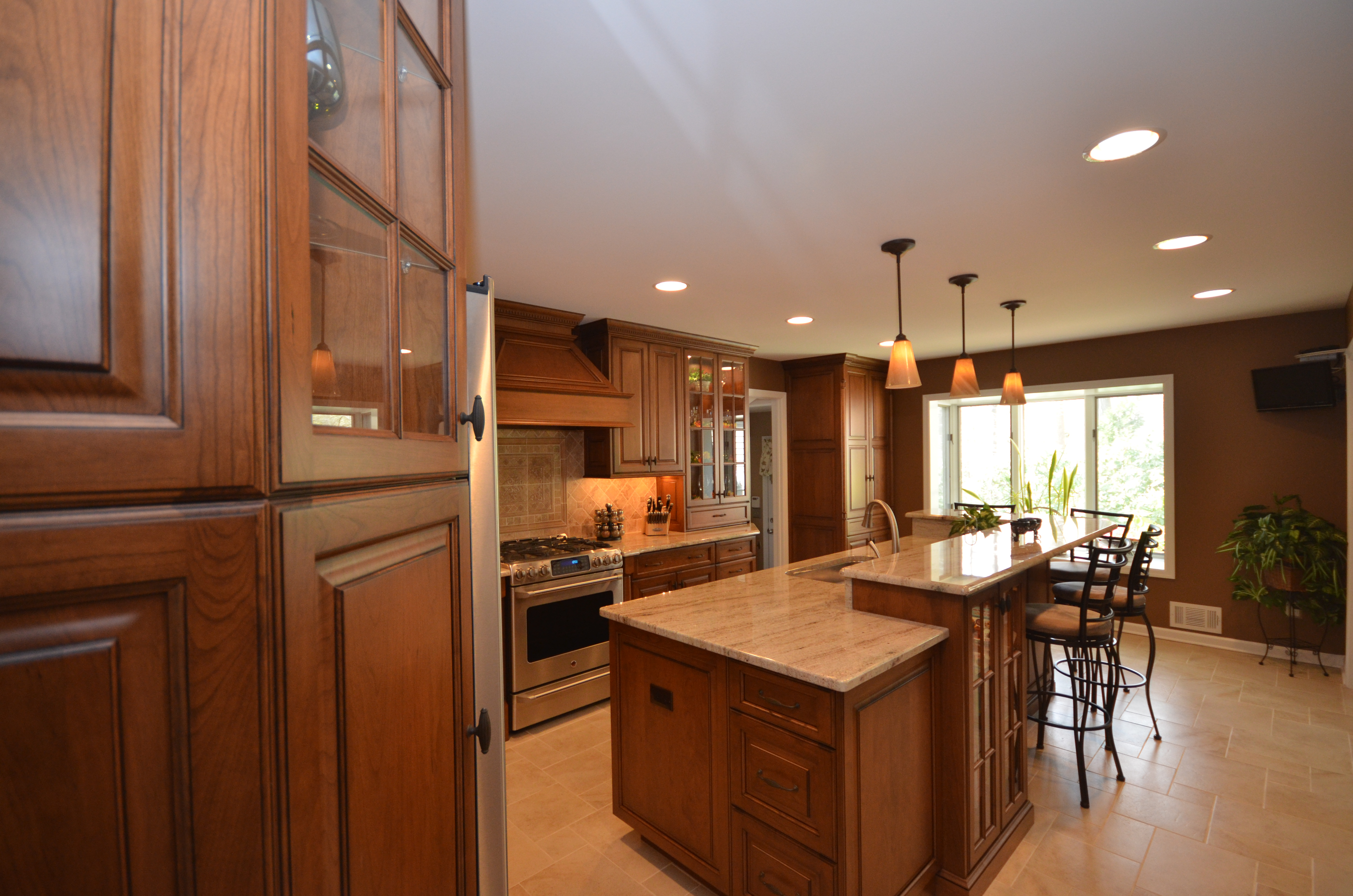 Medium stained wood kitchen holmdel nj by design line kitchens - Design line kitchens ...