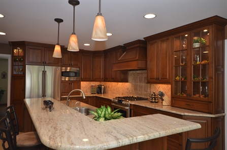 Medium Stained Wood Kitchen Holmdel Nj