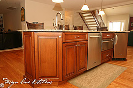 Staggered height cabinetry